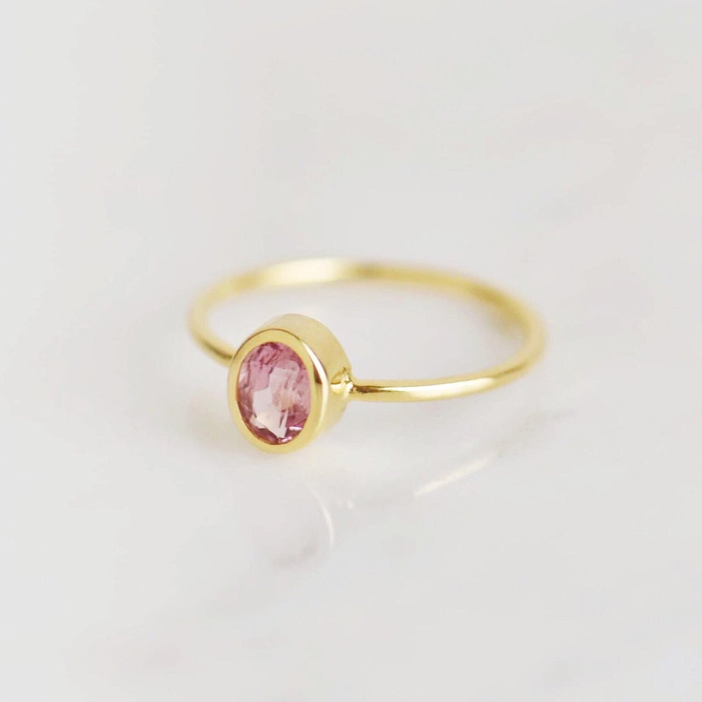 Image of Natural Pink Tourmaline oval cut classic 14k gold ring