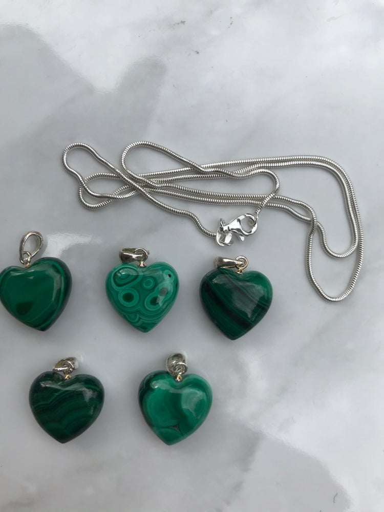 Image of Sterling Silver Malachite Heart Pendant