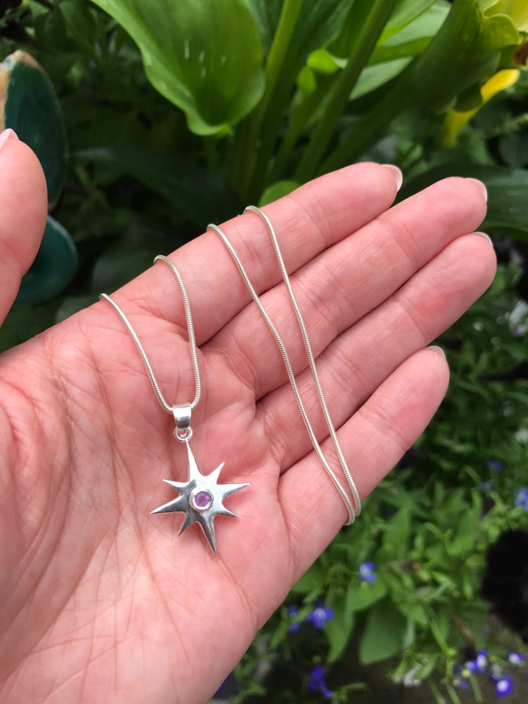Image of Sterling Silver Celestial Star Amethyst Pendant
