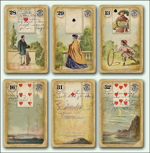Image of Destroyed Dondorf Lenormand Fortune Telling Cards c. 1880