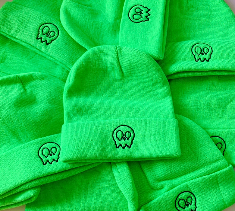 Image of Neon lime TKB drippy skull beanie
