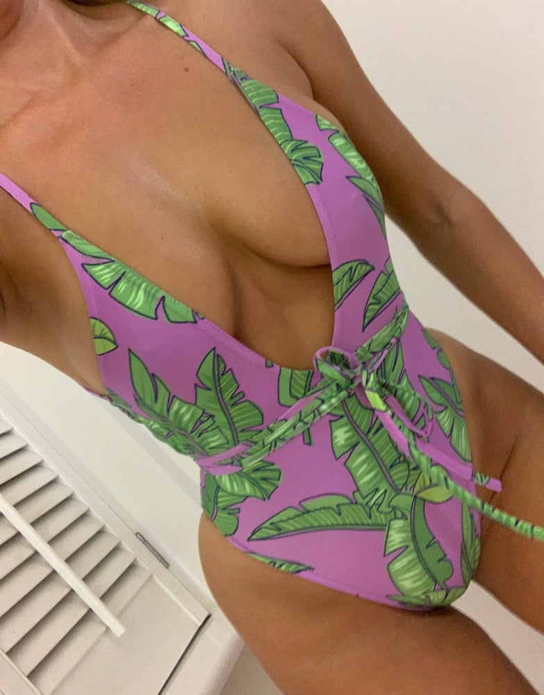 Image of Lilac Tropics Cami Plunge One Piece