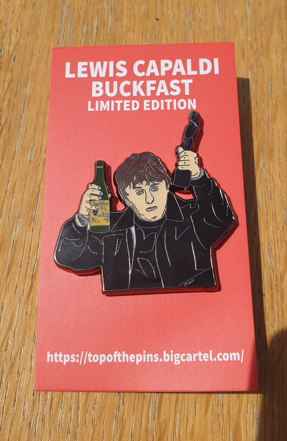 No backing card / reduced price Lewis Capaldi - Buckfast Limited Edition Pin Badge