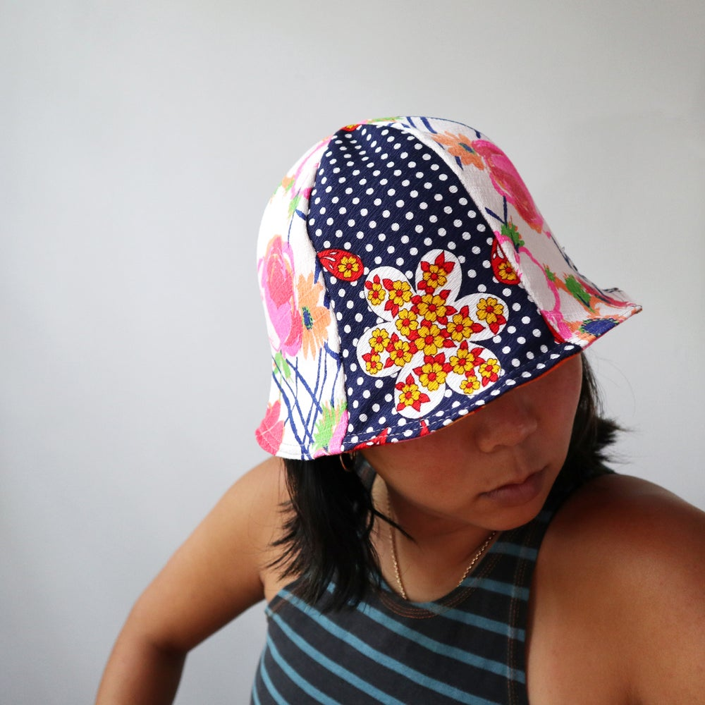 Image of floral navy blue wamsutta mills tween teen adult vintage fabric six panel bucket hat buckethat