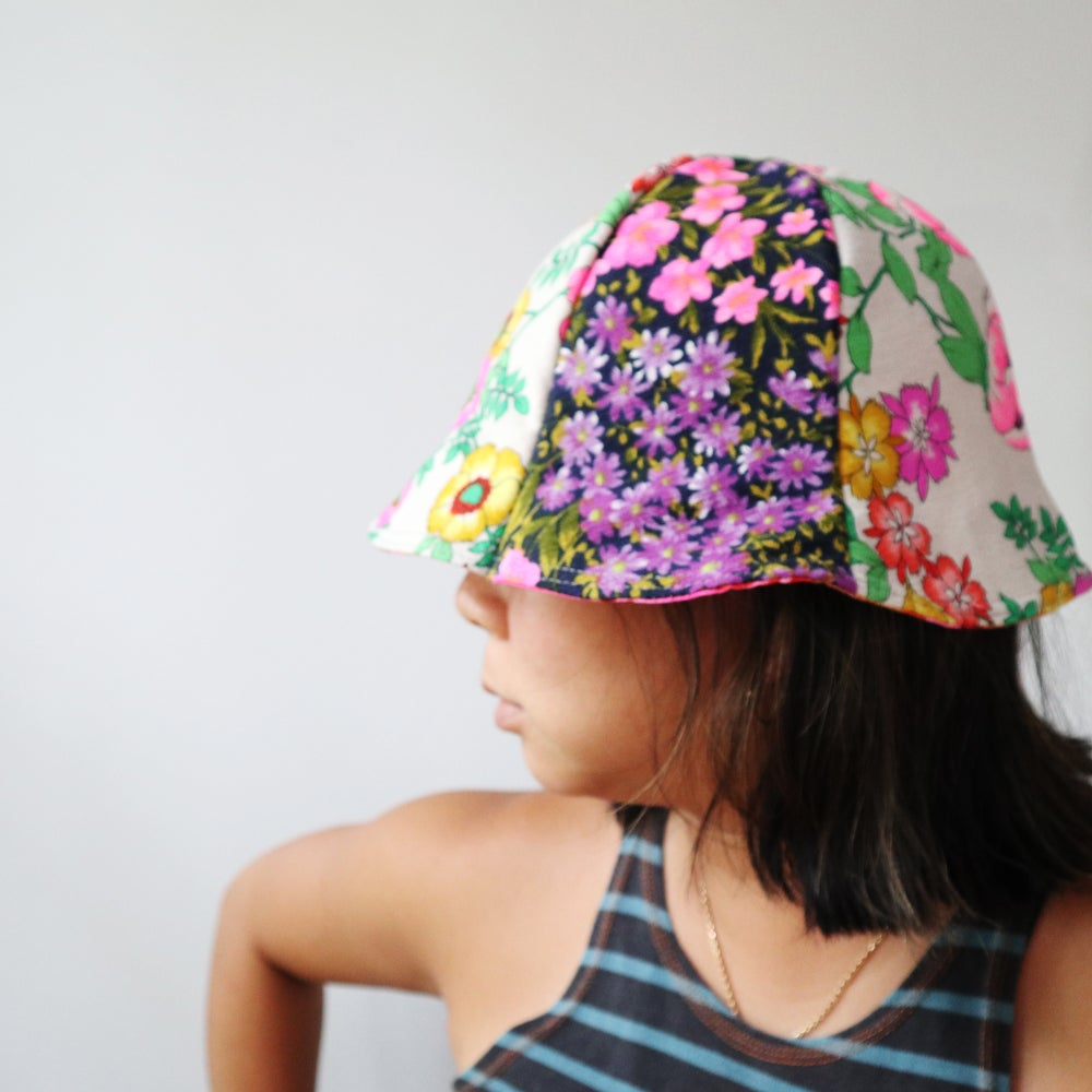 Image of superfloral bold tween teen adult vintage fabric six panel bucket hat buckethat