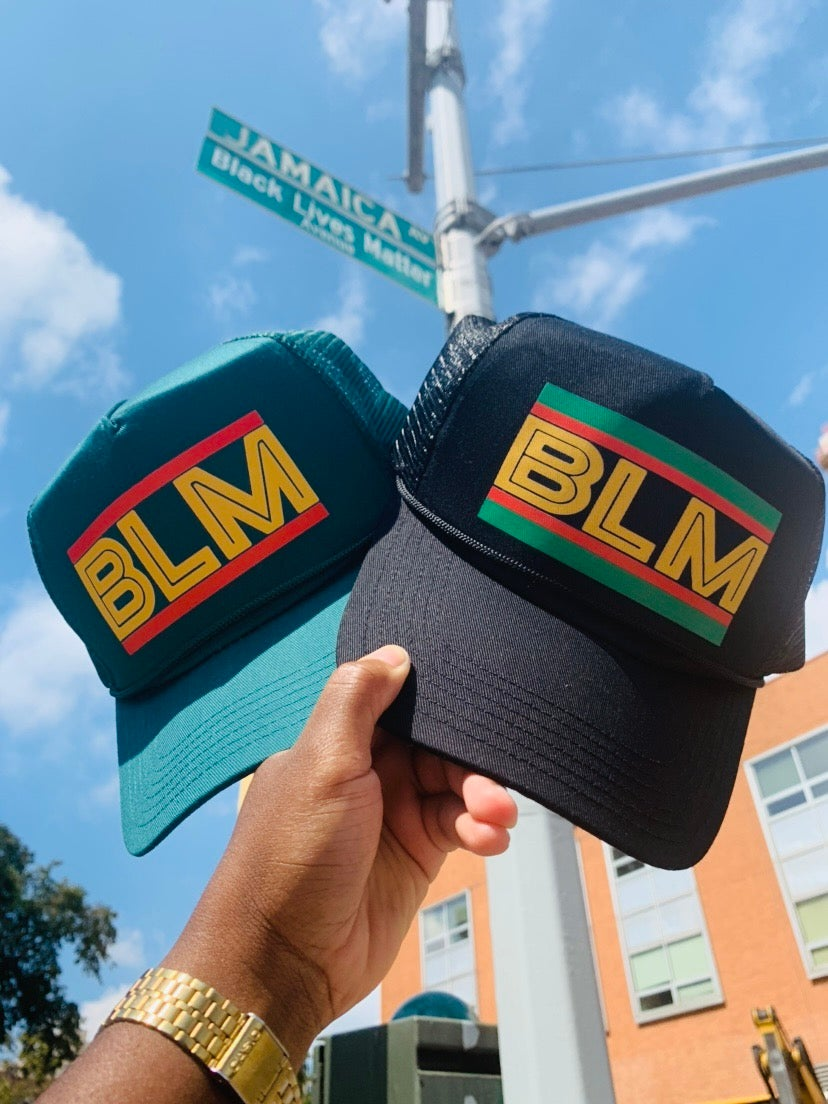 Image of Black Lives Matter 'BLM' Forest Green & Black Trucker Hats