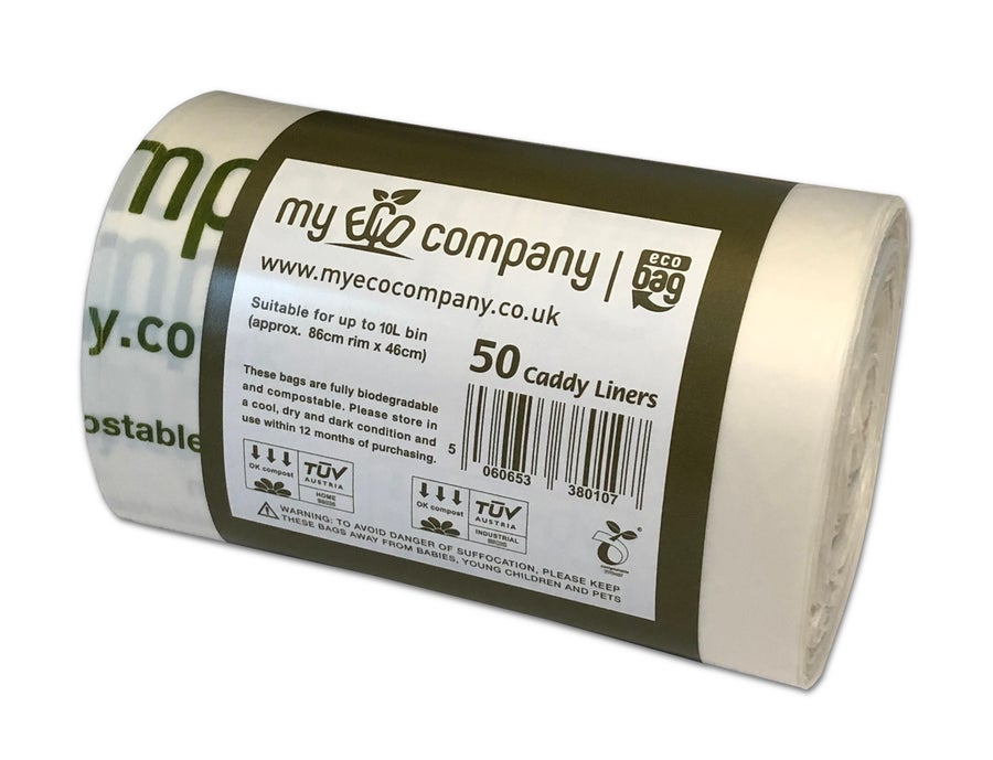 Image of 10 Litre Biodegradable & Compostable Food Waste Bin Bags - 50 Caddy Liners