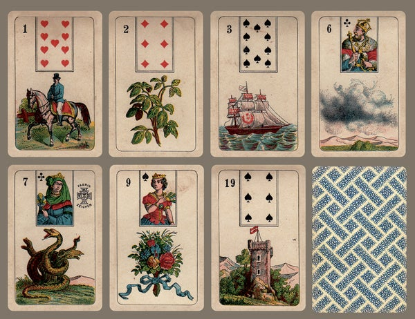 Image of Stralsunder Lenormand c. 1890, restored and un-restored