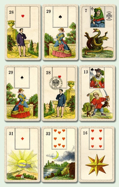 Image of Stralsunder Lenormand Deck c.1890, restored and un-restored