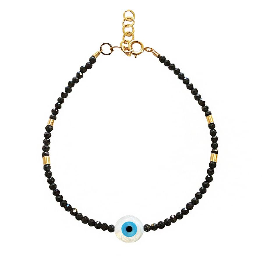 Image of Black Spinel Gold Filled Eye Bracelet