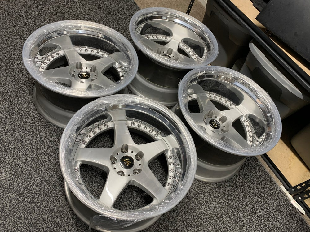 Image of Work VS-ZF brushed faces/ polished lip 5x114.3 F: 18x10 -57 R: 18x11-66 3 pc. New barrels!