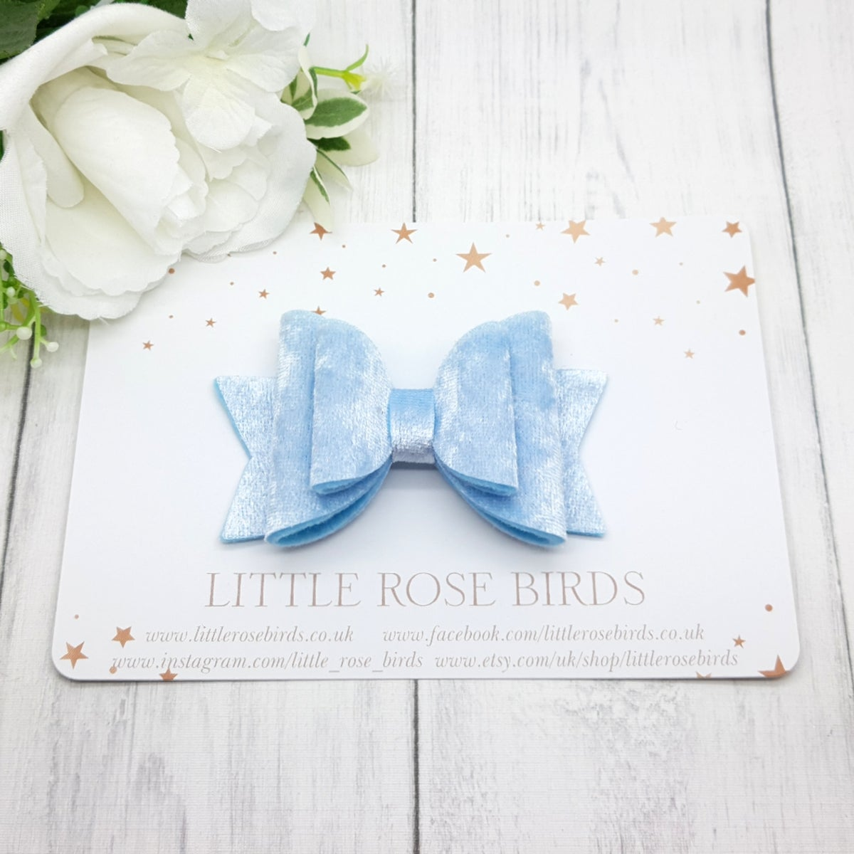 Image of Baby Blue Velvet Bow - Choice of Headband or Clip