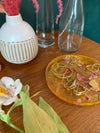 Turmeric dyed round 'floating flowers' tray - small