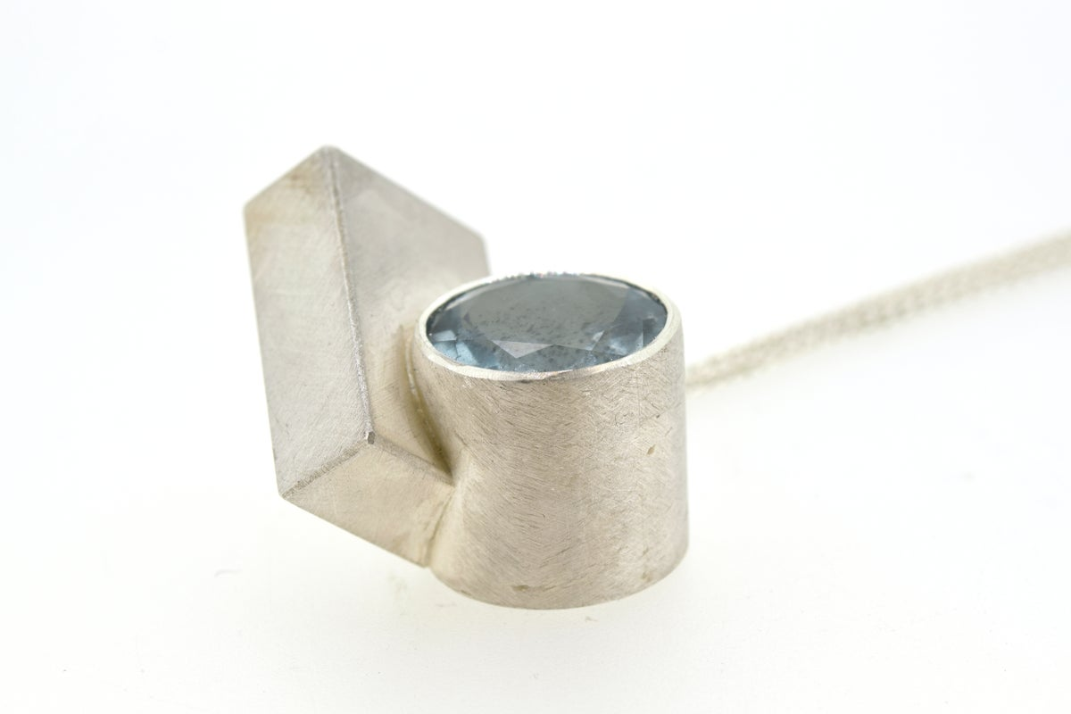 Aquamarine intersecting forms pendant silver
