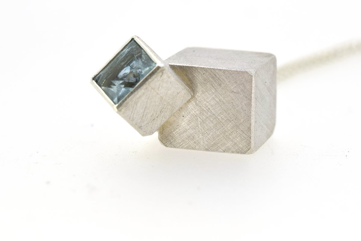 Cube necklace, aquamarine set in silver, interacting forms