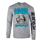 "Image of NO REDEEMING SOCIAL VALUE ""Wasted For Life"" Gray Long Sleeve Shirt"