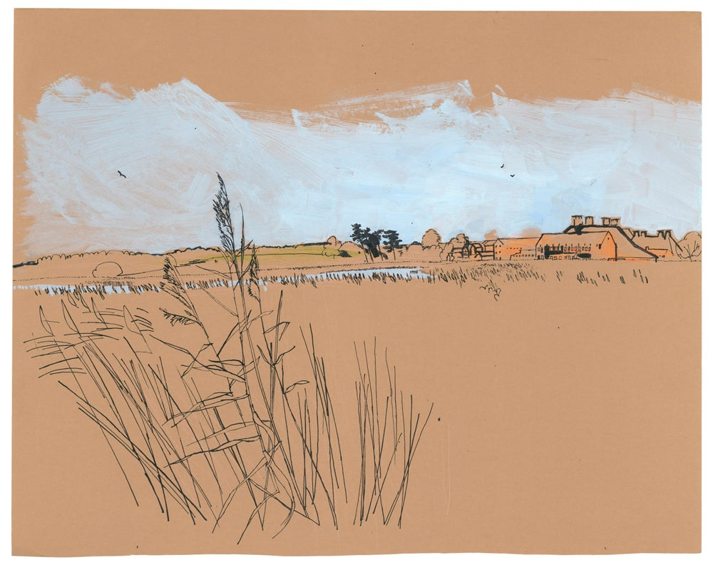 Image of Snape Maltings from the reeds print