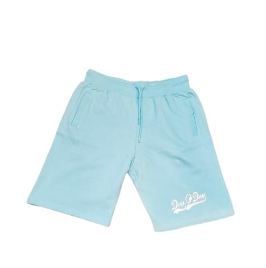 Powder Blue/White Sweat Shorts