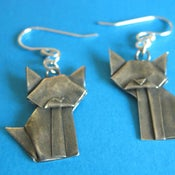 Image of Silver Origami Cat Earrings
