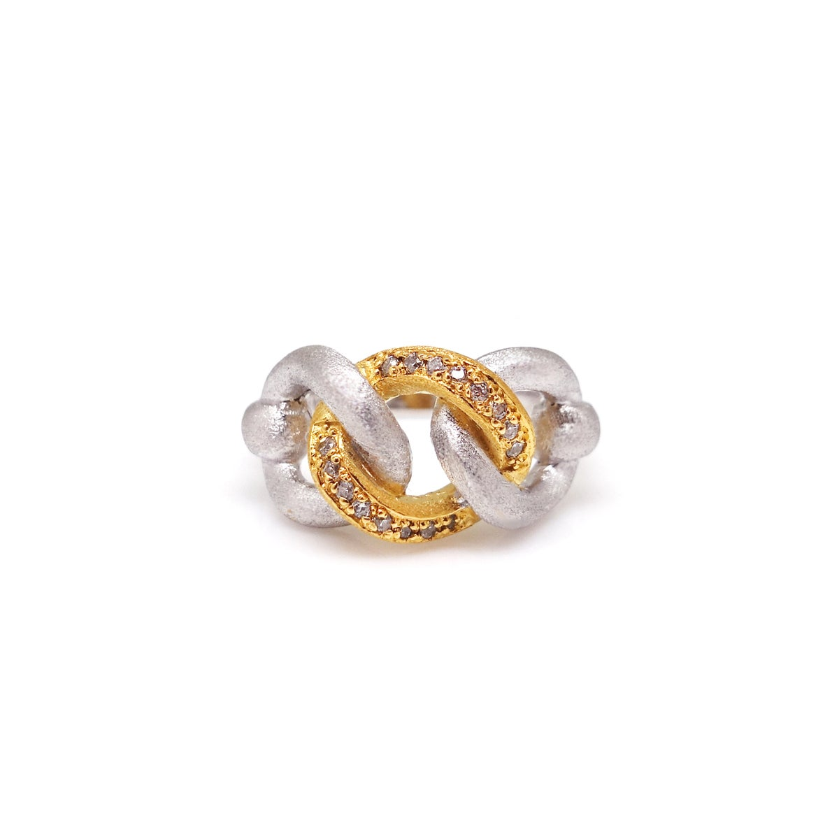 Image of ERES TRIPLE PAVED COMBO CHAIN RING