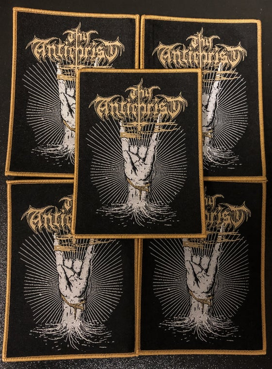 Image of Thy Antichrist - Cuernos Arriba/ Horns Up Woven Patch Gold Border