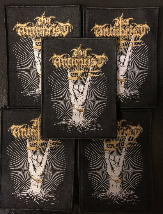 Image of Thy Antichrist - Cuernos Arriba/Horns Up Woven Patch Black Border