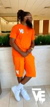 Men's Orange VE Logo Short Set