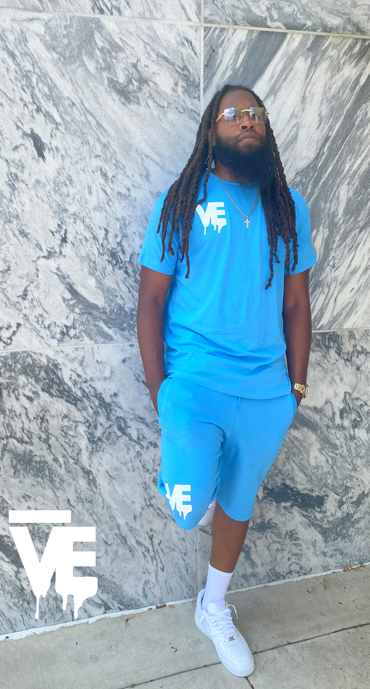 Image of Men's Drip Blue VE Logo Short Set