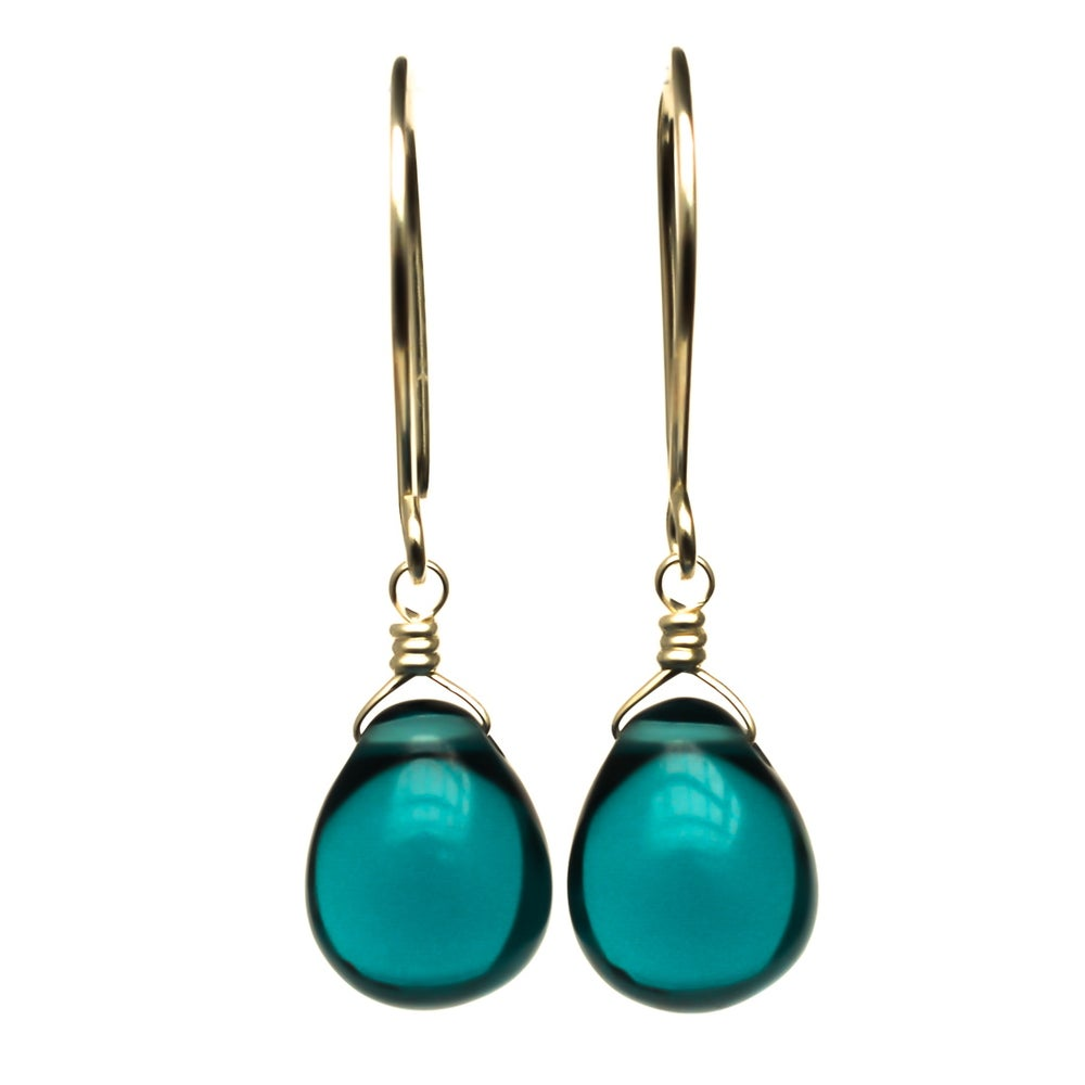 Image of Dark blue glass drop earrings