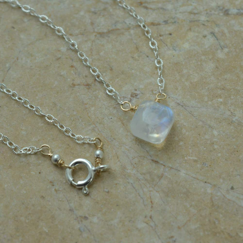 Image of Rainbow Moonstone Mixed Metal Necklace