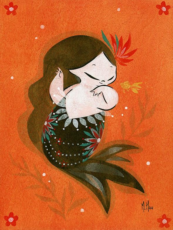 """Goldfish Mermaid- Tiny Bubbles 5-Pack 5 x 7"""" Prints"""