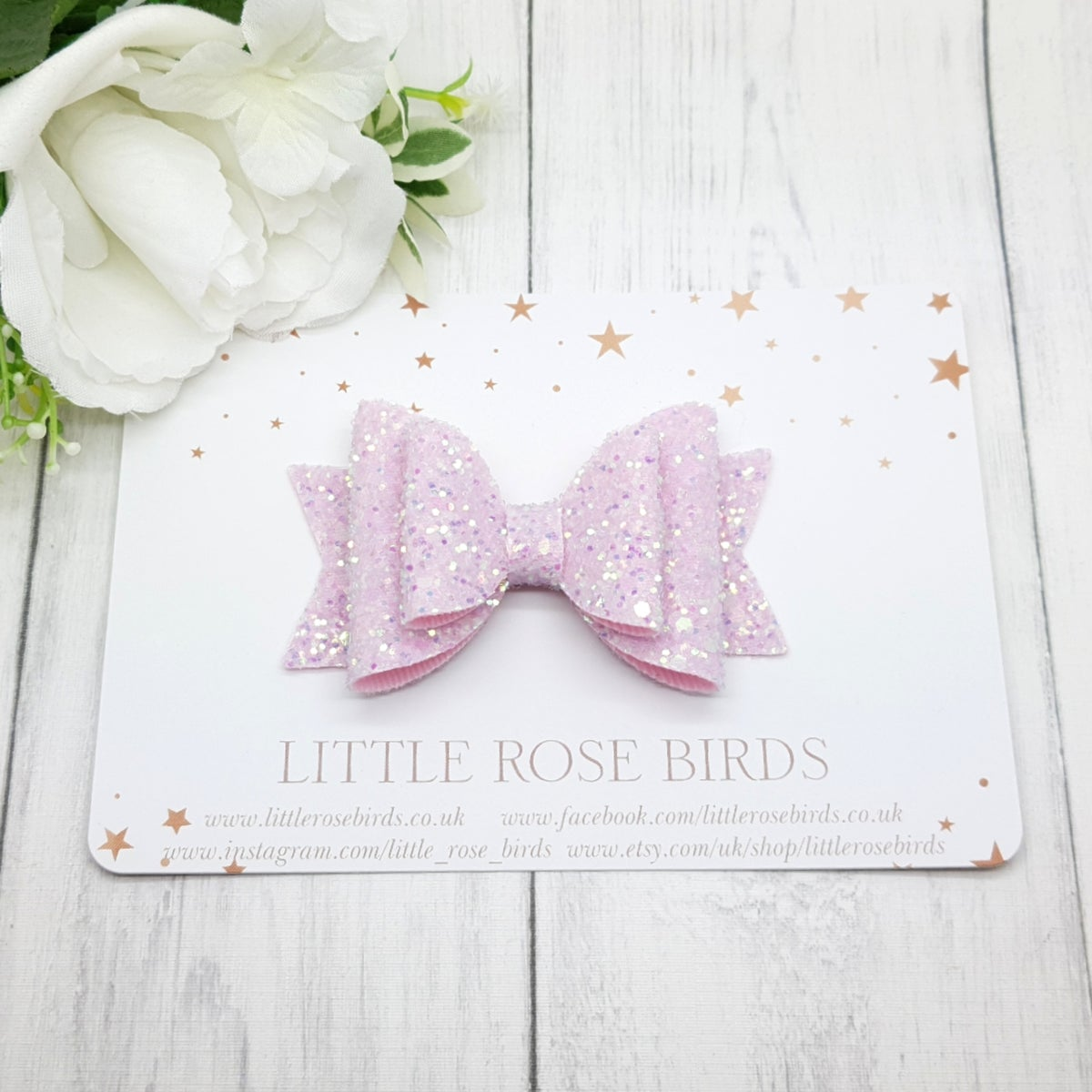 Image of Pink Glitter Bow -Choice of Size