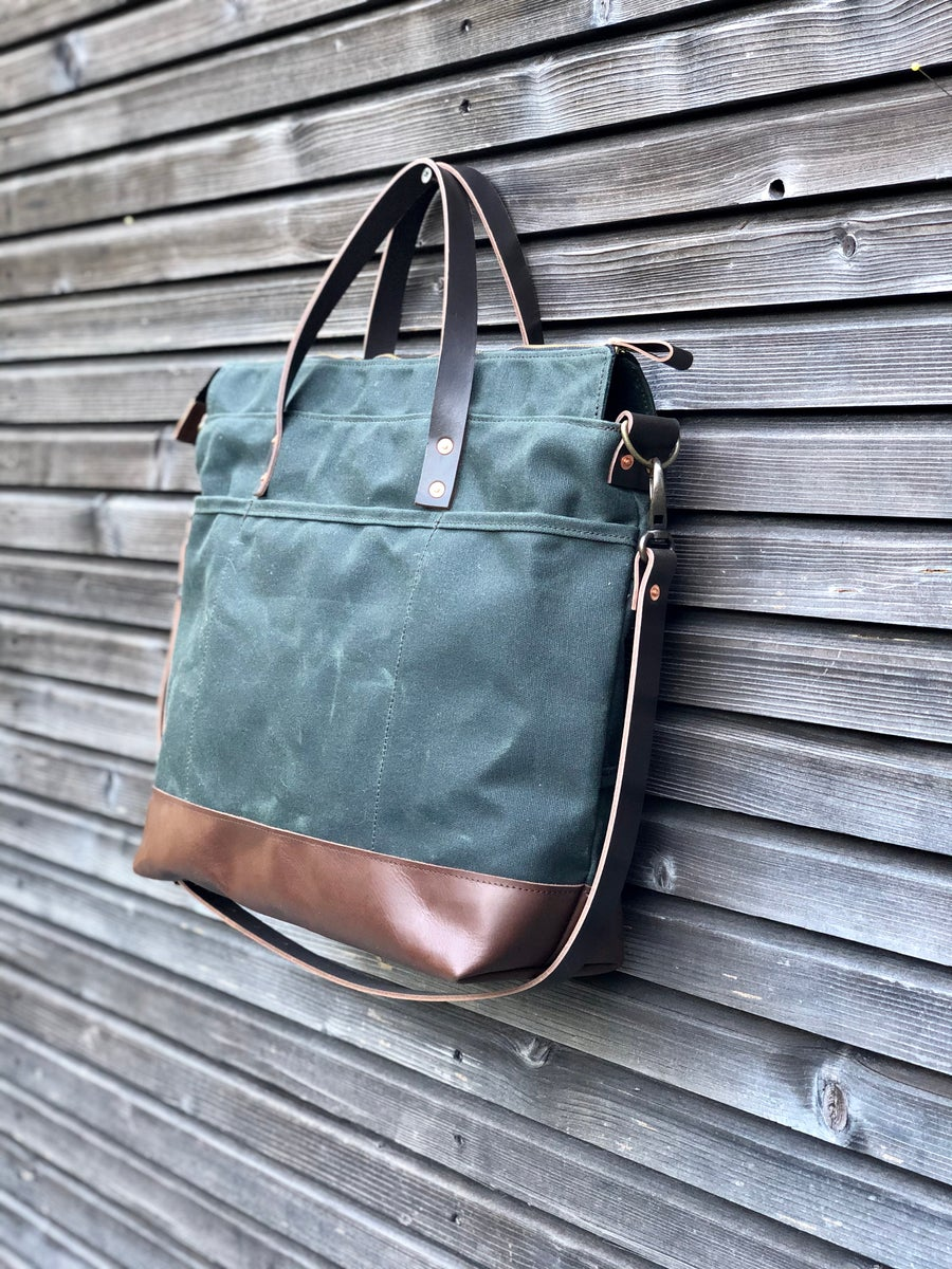 Image of Waxed canvas tote bag / office bag with luggage handle attachment leather handles and shoulder strap