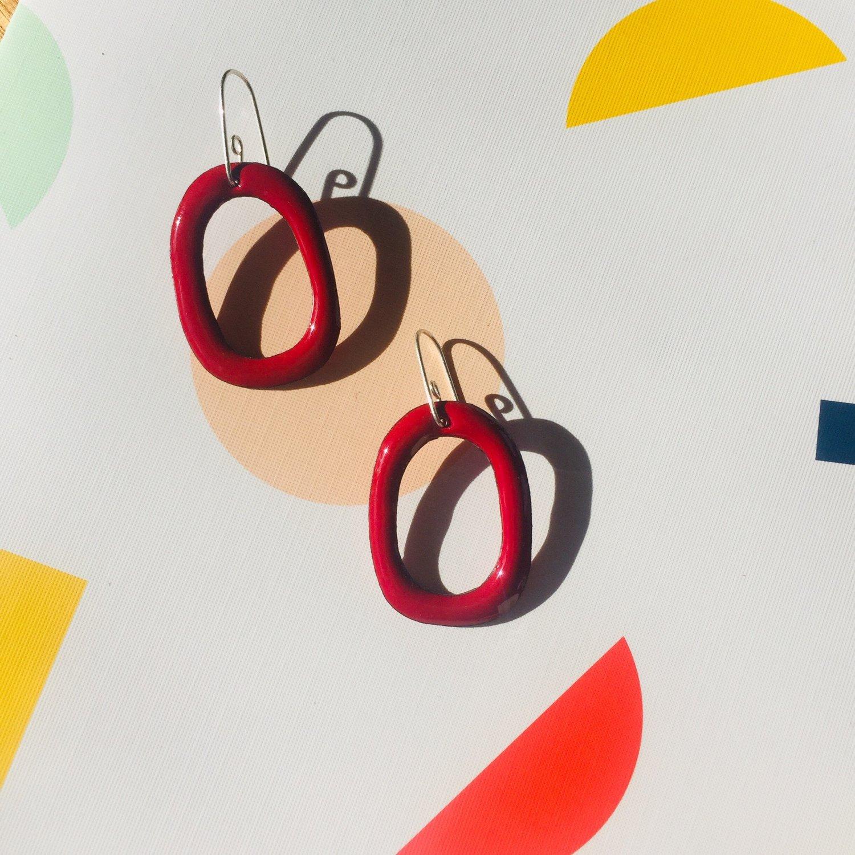 Image of Enamel Hoop earrings - Berry Red - Medium