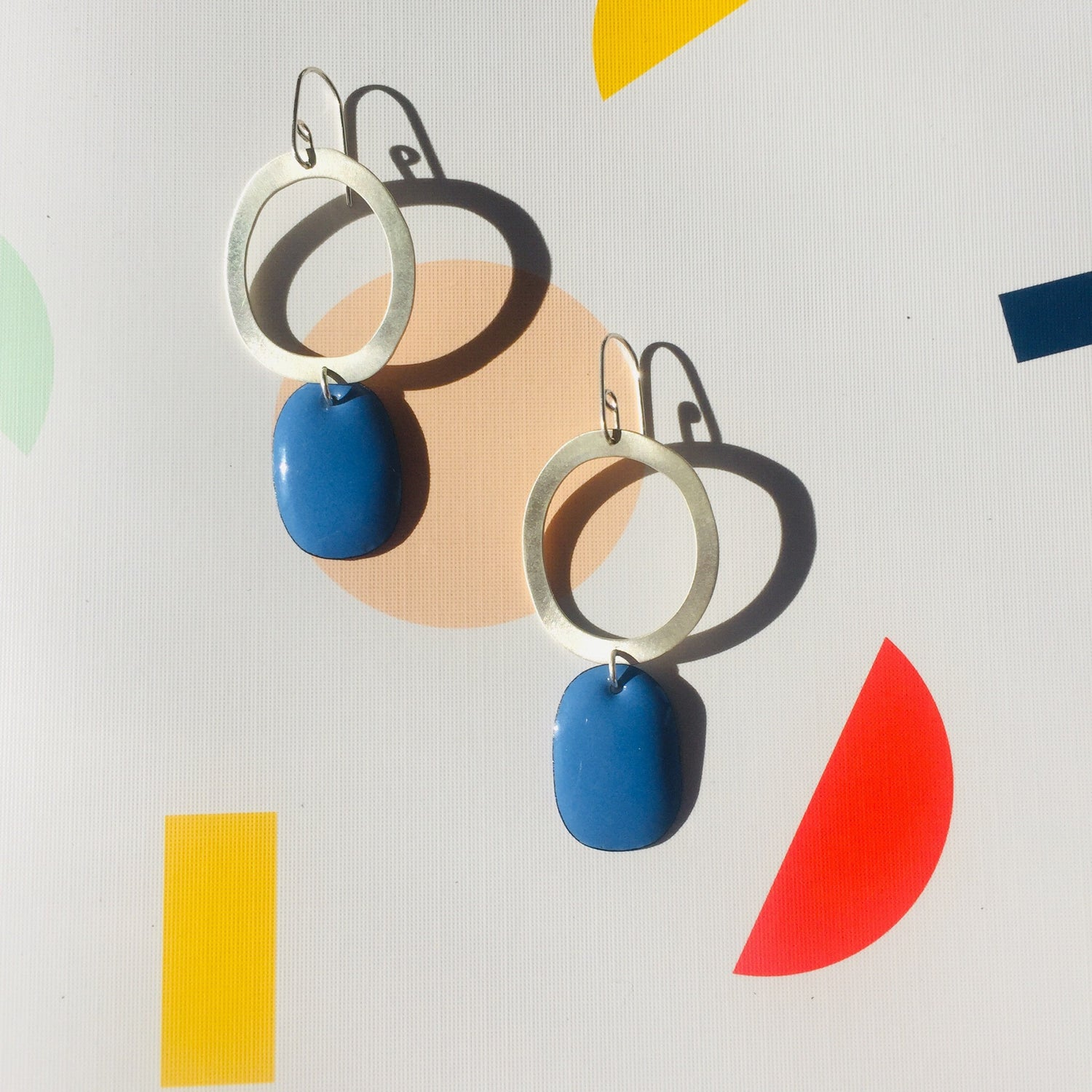 Image of Silver hoop Earrings with Enamel drop