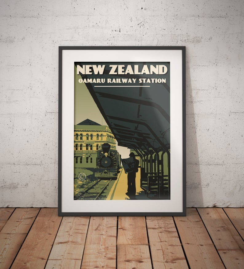 Image of Vintage poster New Zealand Oamaru | Old Railway Station | Retro Art Poster | Locomotive | Train