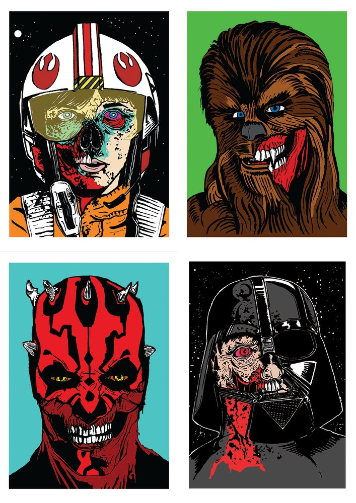 Image of Star Wars Zombies Set Of 4 Signed A5 Prints