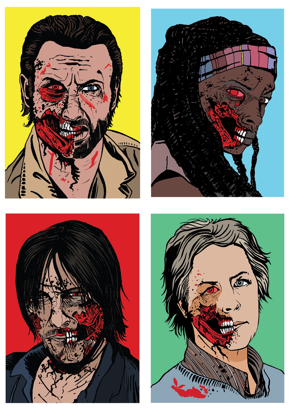 Image of Walking Dead Zombies Set Of 4 Signed A5 Prints (Set 1)
