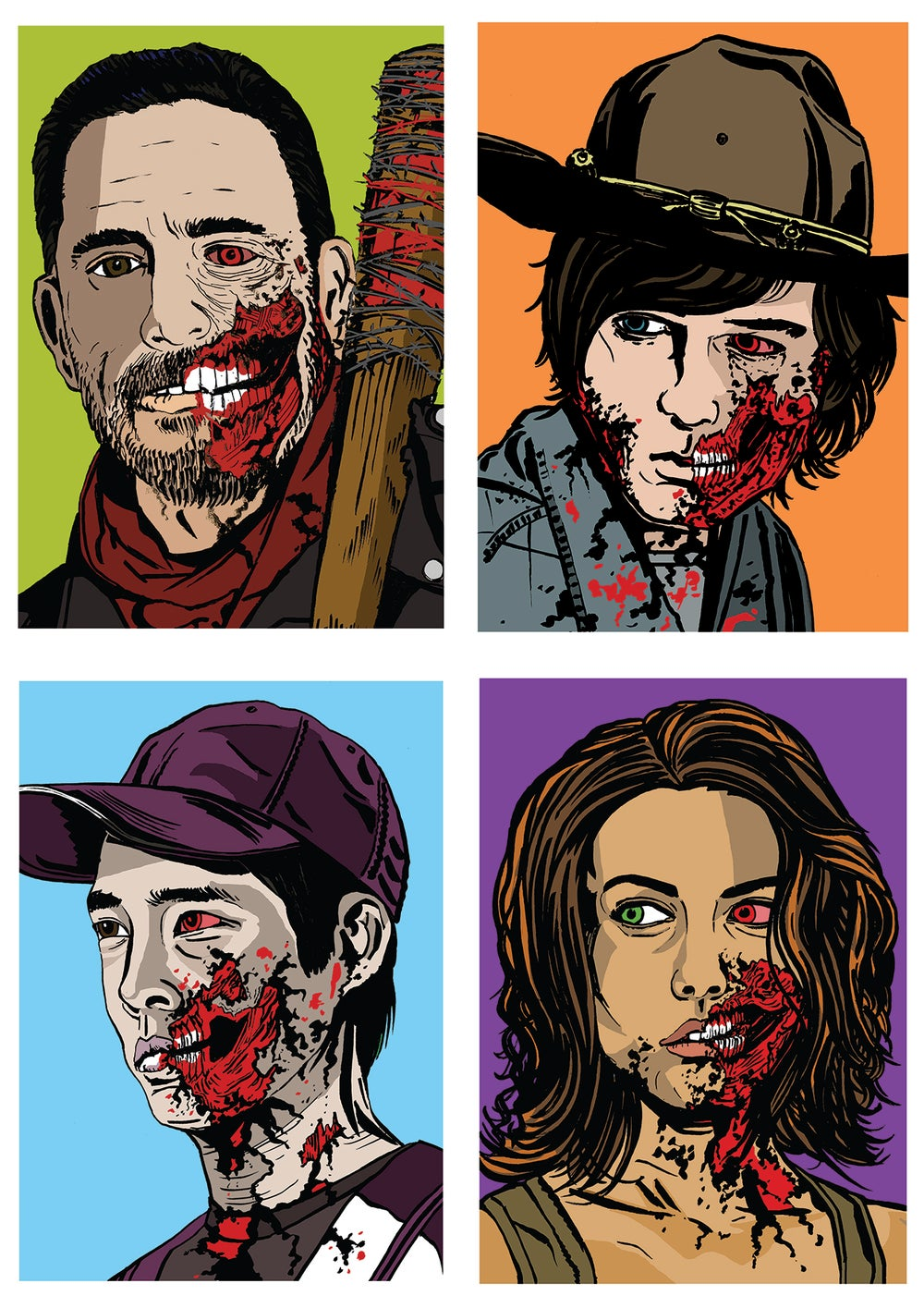 Image of Walking Dead Zombies Set Of 4 Signed A5 Prints (Set 2)