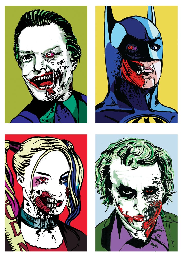 Image of DC Batman Zombies Set Of 4 Signed A5 Prints