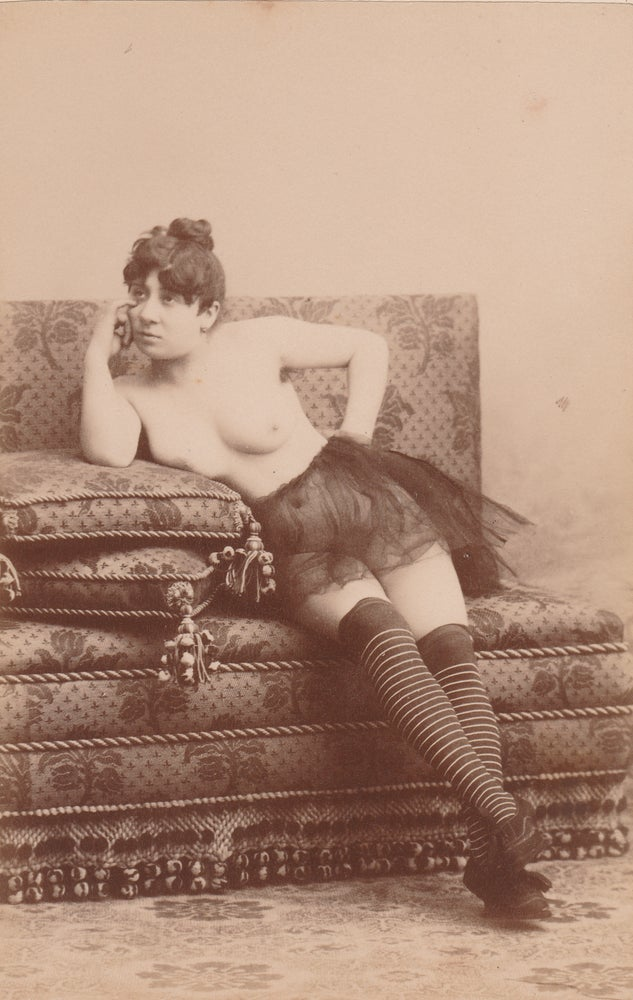Image of Anonymous: nude with striped stockings, ca. 1870