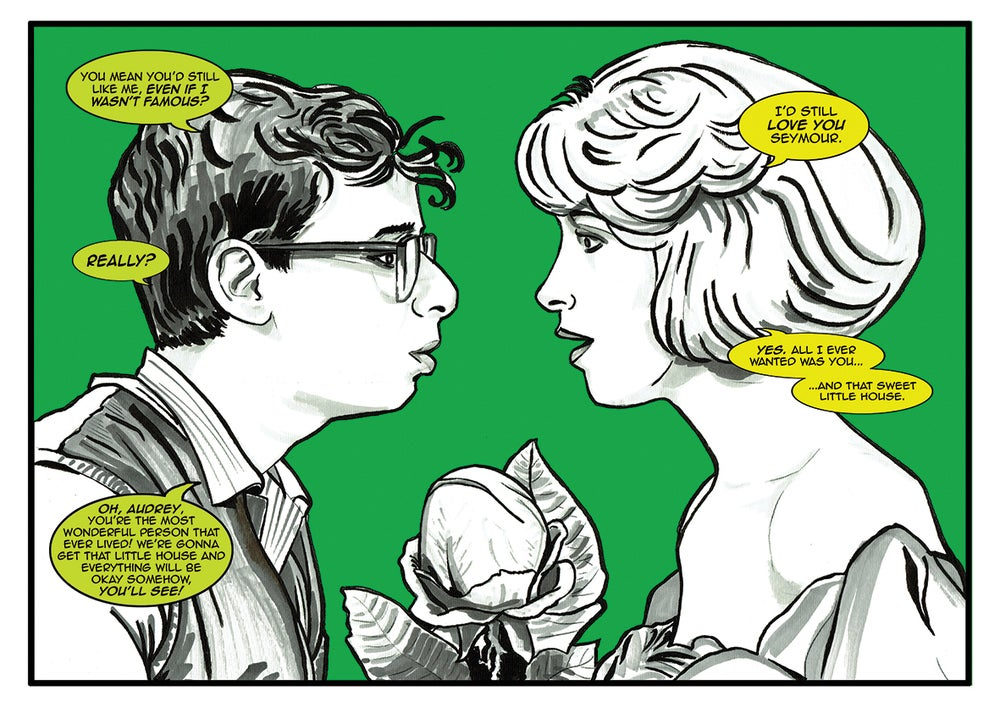 Image of The Little Shop Of Horrors 'Seymour and Audrey' Comic illustration A4 Signed Print