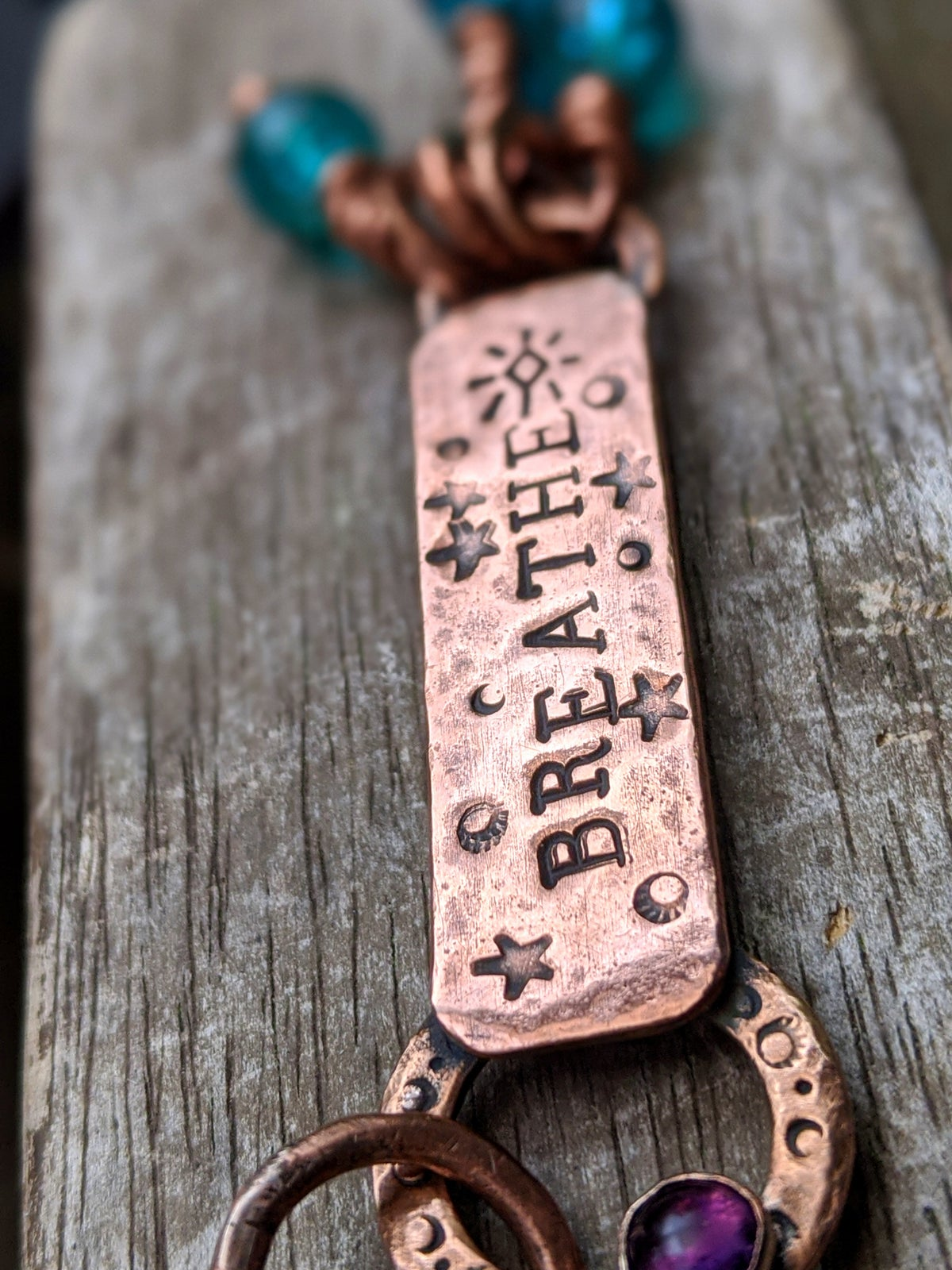 Breathe upcycled rustic copper & amethyst mantra pendant