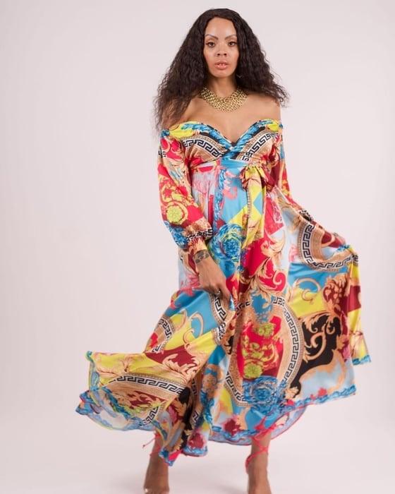 Image of Mixed Print Maxi Dress