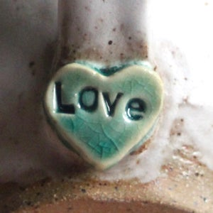 Image of Love Mug in Matte White Glaze on Speckled Brown Stoneware, 13 oz. Made in USA