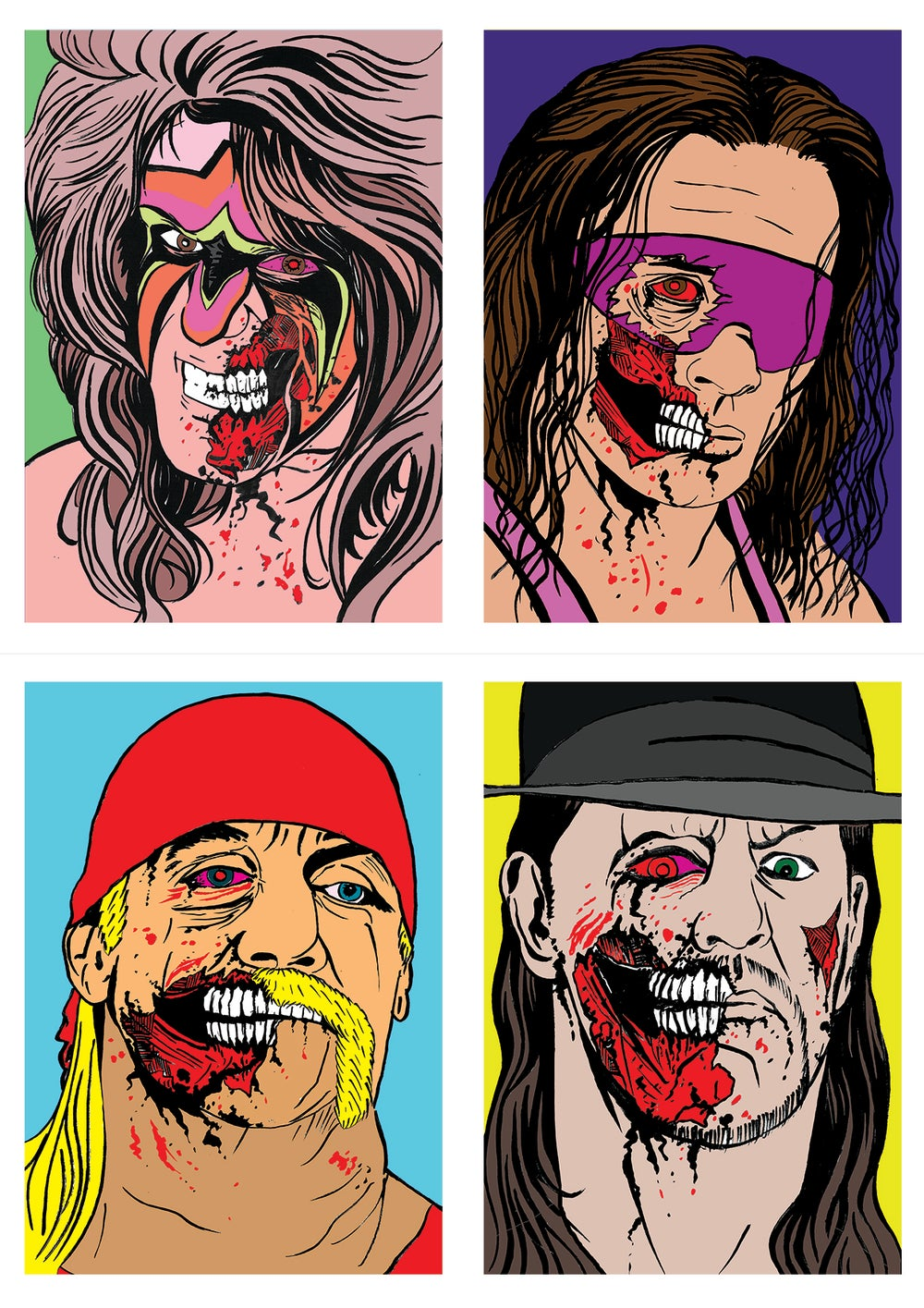 Image of Wrestling Zombies Set Of 4 Signed A5 Prints