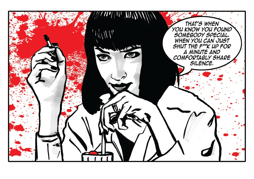 Image of Pulp Fiction 'Comfortable Silence' Comic Illustration Signed A4 Print