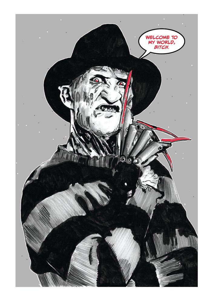 Image of A Nightmare On Elm Street 'Freddy' Comic Style Illustration Signed A3 Print
