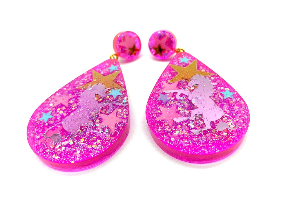 Image of Unicorn Magic Drop Statement earrings Neon Pink