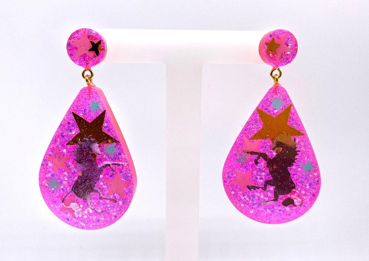 Image of Unicorn Magic Drop Statement earrings Neon Pink